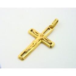 Cruz oro 750 blanco y amarillo con cristo - REF. MO-9521CC9/CR
