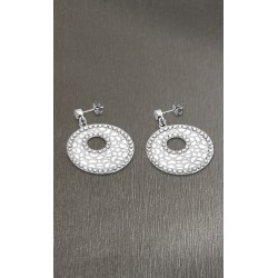 Pendientes Lotus Style acero y esmalte blanco - REF. LS1721-4/1