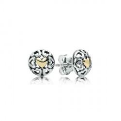 Pendientes Pandora plata 925 y oro 14k - REF. 290557