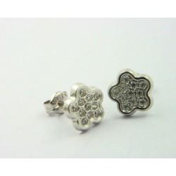 Pendientes oro blanco 750 con circonitas - REF. LV-620822B/PE