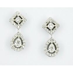 Pendientes oro blanco 750 con diamantes - REF. VI-6857/PE