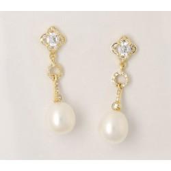 Pendientes oro 750 con circonitas y perlas - REF. BA-1PE672/PE