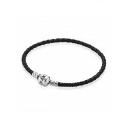 Pulsera Pandora plata 925 y cuero negro trenzado - REF. 590705CBK-S1