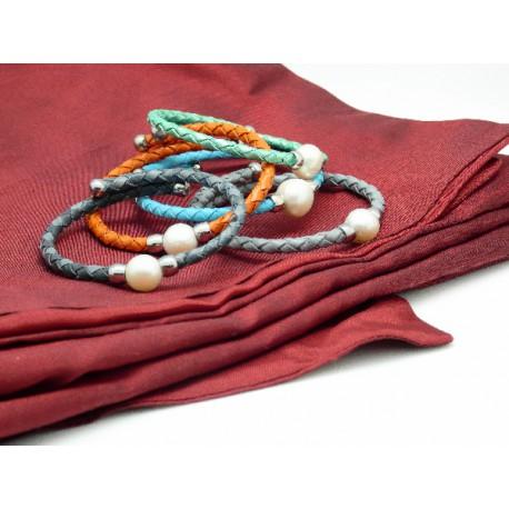 Pulsera cuero y perla - REF. 001002813