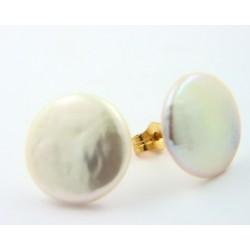 Pendientes oro 18k con perla plana - REF. RV-2745/PE