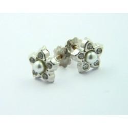Pendientes oro blanco 18k con forma de flor - REF. RV-2830OB/PE