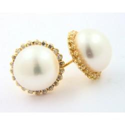 Pendientes oro 750 con circonitas y perlas - REF. LD-219107A/PE