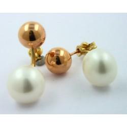 Pendientes oro rosa 750 doble con perla - REF. LD-210260A/PE