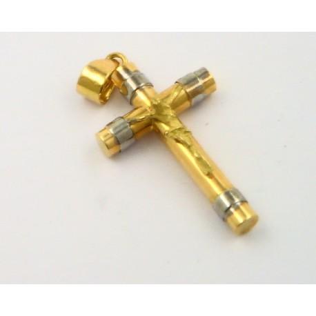 797aedcb0053 Cruz oro amarillo y blanco 750 con cristo - REF. 154941 - Joyería Manjón