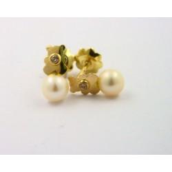 Pendientes oro 750 con osito y perla - REF. RV-2893/PE