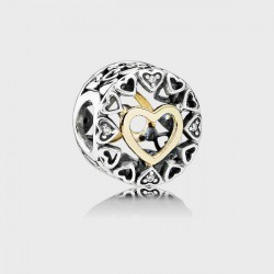 Abalorio Pandora plata 925 y oro 14K - REF. 792009CZ