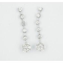Pendientes oro blanco 750 con diamantes - REF. AU-31737/PE