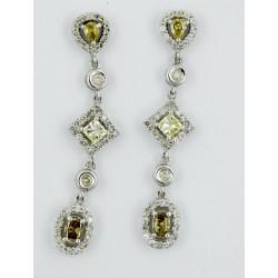 Pendientes oro blanco 750 con diamantes - REF. KM-PER113593/P