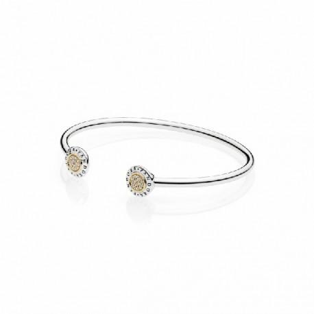ad41683e7116 Pulsera Pandora plata 925 y oro 14k talla pequeña - REF. 596274CZ-1 ...