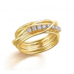 Anillo Lecarré plata dorada 925 talla 15 - REF. LA097AM.15