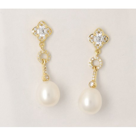 ca3ee2ba63e9 Pendientes oro 750 con circonitas y perlas - REF. BA-1PE672 PE ...